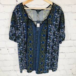LUCKY BRAND Boho Peasant Top SS Plus Size 1X NEW
